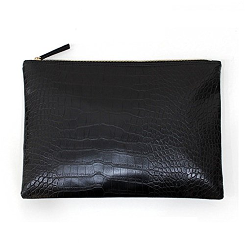NIGEDU Women Clutches Crocodile Grain PU Leather Envelope Clutch Bag (Black) by NIGEDU (Image #1)