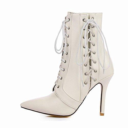 Carolbar Women's New Style Fashion High Heel Stiletto Zip Short Boots Off-White bjp4jTQ59