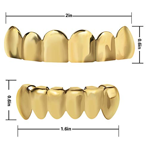 TSANLY Gold Grillz - New Custom Fit 24k Gold Grillz Plated Tooth Grills fit Mouth Caps Top & Bottom Grill Set Grills for Son by TSANLY (Image #2)
