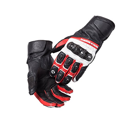 MOTORCYCLE BIKERS LEATHER WITH ARMOR POWER SPORTS KNUCKLE GLOVES BLACK/WHITE/RED ROCKBIKER (Large)