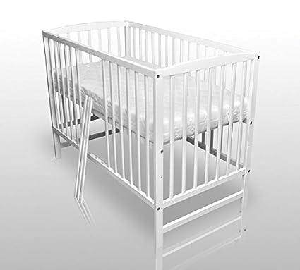 Misure Letti Per Bambini.Letto Per Bambini In Legno Massiccio Colore Bianco Misure 120 X 60 Cm Con Materasso