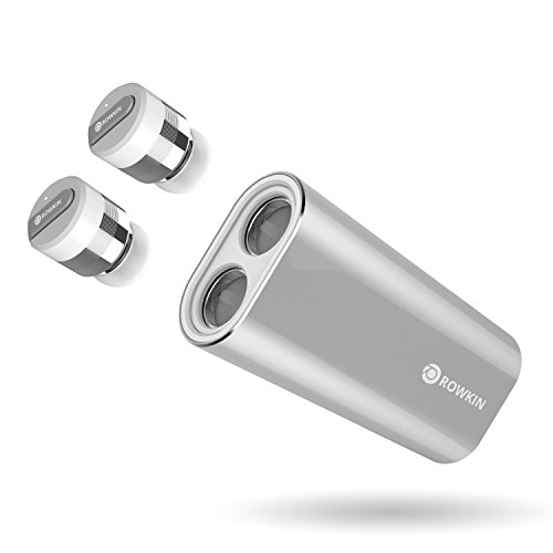 Rowkin Bit Charge Stereo: True Wireless Earbuds w/ Charging Case. Bluetooth Headphones Smallest Cordless Hands-free Mini Earphones Headset w/ Mic & Noise Reduction for Android & iPhone (Silver)