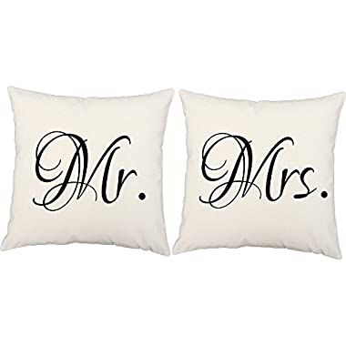 Set of 2 RoomCraft Mr. and Mrs. Throw Pillows 14x14 Inch Square White Cotton Cushions