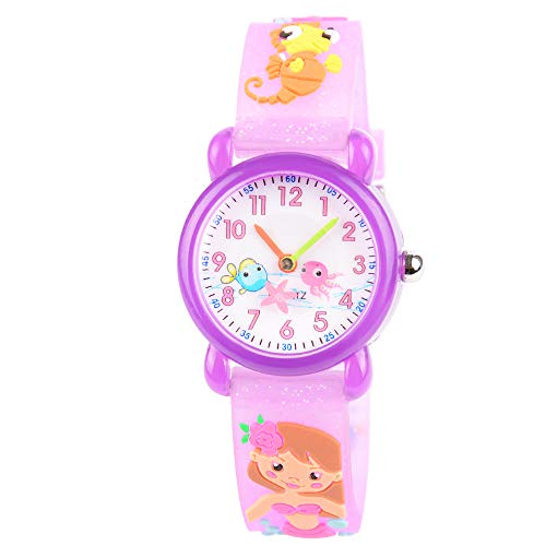 (Venhoo Kids Watches Cute 3D Cartoon Waterproof Silicone Children Toddler Wrist Watch Time Teacher Birthday Gift 3-10 Year Boys Girls Little Child (Purple Mermaid))