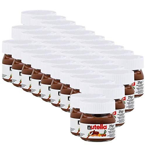 Ferrero Nutella Small Mini Design Glass Set of 32 25 g Bread Spread, Nugate Cream, Chocolate Flavour