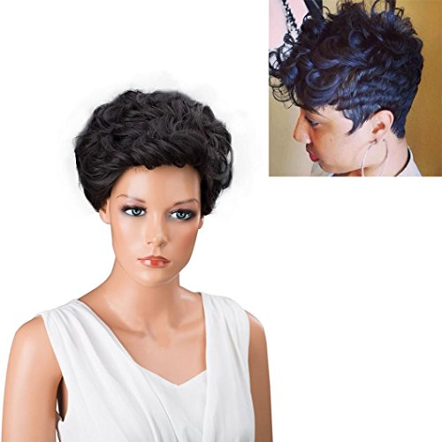 Vibola Fashion Cosplay Party Short Wig cap Black Brown Front Curly Hairstyle Synthetic Hair Wigs For Black (70s Womens Hairstyles)