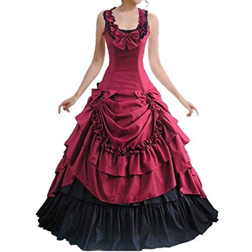 I-Youth Womens Lace Marie Antoinette Masked Ball Victorian Costume Dress (XS, 2Wine red)