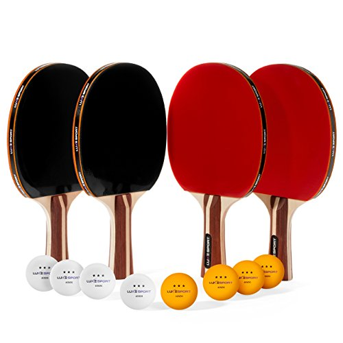 Ping Pong Paddle Set-4 Premium Table Tennis Rackets / Paddles 8 Three Star Balls with Portable Travel Carrying Case – Rec or Pro Play Kit – 2 / 4 Players – Indoor Outdoor Sport Training Bundle (red)