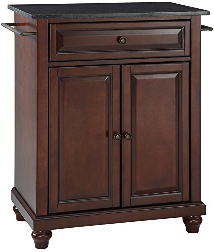 Crosley Furniture Cambridge Cuisine Kitchen Island With Solid Black Granite  Top   Vintage Mahogany