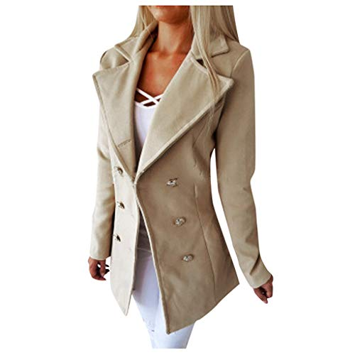 Yoyorule Tops Plus Size Solid Color Long Sleeve Double-Breasted Suit Collar Wool Coat Ladies Office Jacket Outwear