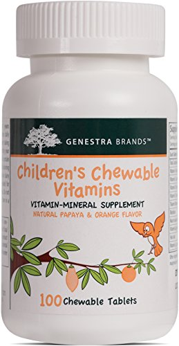Genestra Brands - Children's Chewable Vitamins - Vitamin-Mineral Supplement - Natural Papaya and Orange Flavor - 100 Chewable Tablets (100 Tablets Multi Supplement Mineral)
