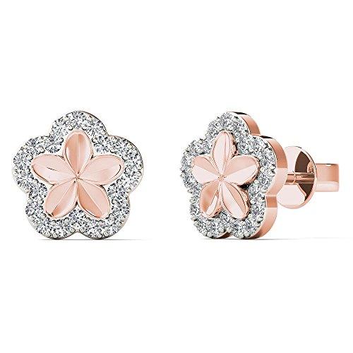 (JewelAngel Women's 10K Rose Gold 1/8 Carat TDW Diamond Classic Flower Stud Earrings (H-I, I1-I2) )