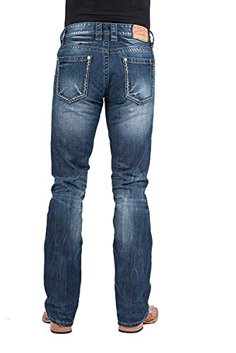 Stetson Men's Rocker Fit with Lower Rise and Slightly Fitted Thigh Jean,Dark Blue Stone Wash with Distressed Seams and Embroidered Back Pocket, 44x34 ()