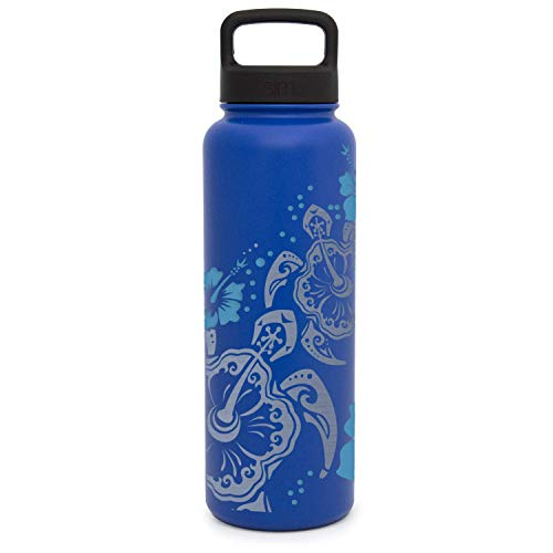 Premium Water Bottle, Hibiscus Sea Turtle, Extra Lid, Wide Mouth, Stainless Steel, Vacuum Insulated, Double Walled, Hot and Cold, 40 Ounce, Two Tone Etched by Integrity Bottles (Twilight Blue)