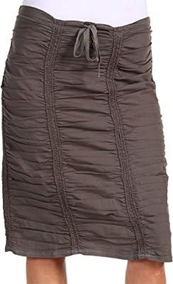 XCVI Womens Double Shirred Panel Knee Length Skirt