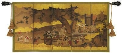 Fine Art Tapestries ''Seven Gods Of Good Fortune and Chinese Children'' Wall Tapestry