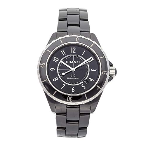 Black Chanel Ceramic Watch - Chanel J12 Mechanical (Automatic) Black Dial Mens Watch H2980 (Certified Pre-Owned)