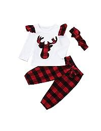GoodLock Baby Boys Girls Christmas Clothes Set Toddler Infant Deer Plaid Tops Pants Outfits 3Pcs
