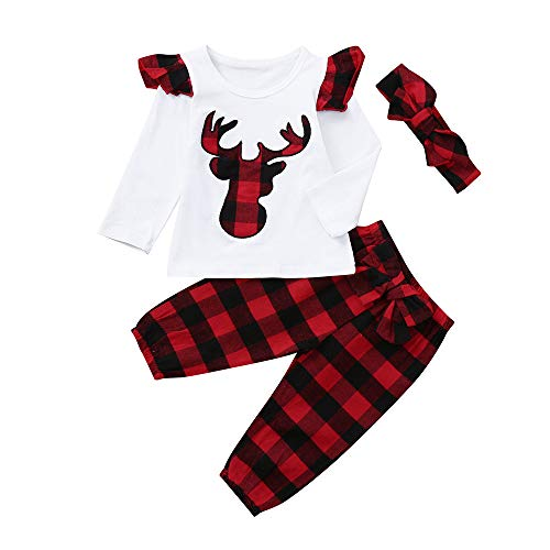 Clearance Christmas Party 3Pcs Toddler Baby Boys Girls Deer Plaid Ruched Tops T-shirt Pants Outfits Set Pajama 24 Month (White, 6-12 Months)