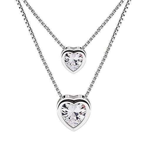 B.Catcher Mujer Collar Colgante Plata de Ley 925 con Doble corazón con para Regalo San Valentín Originales a buen precio