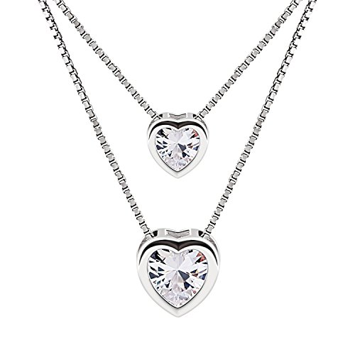 B.Catcher Necklace Womens 925 Sterling Silver Cubic Zirconia Double Heart Layer Bead Chains Necklace Valentines Day (Sterling Silver Cubic Zirconia Necklace)