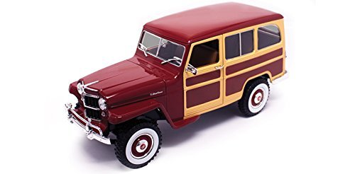 NEW 1:18 ROAD SIGNATURE SCOLLECTION - BURGUNDY 1955 WILLYS JEEP STATION WAGON Diecast Model Car By Road (Signature Diecast Cars)