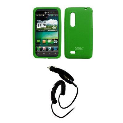 EMPIRE Neon Grün Silicone Skin Case Tasche Hülle Cover + Auto Charger (CLA) for AT&T LG Thrill 4G P925