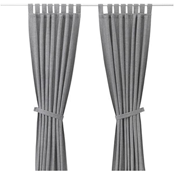 Ikea Lenda 2 Grey Curtains + Tie Backs - (140 x 300 cm): Amazon.es ...