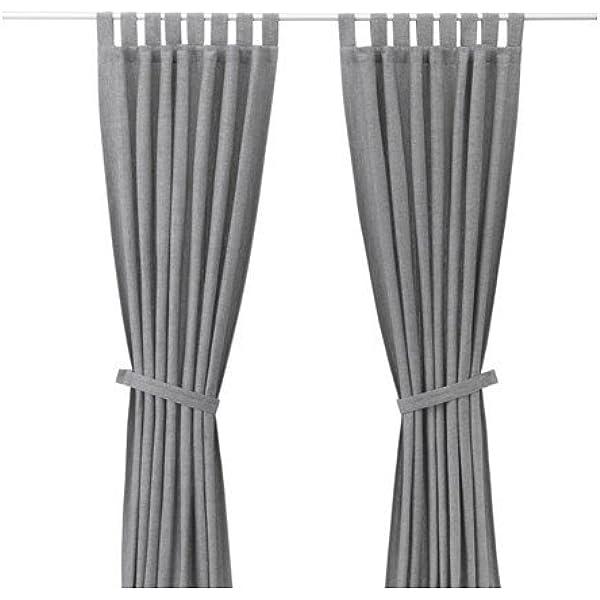 Ikea Lenda 2 Grey Curtains + Tie Backs - (140 x 300 cm): Amazon.es ...