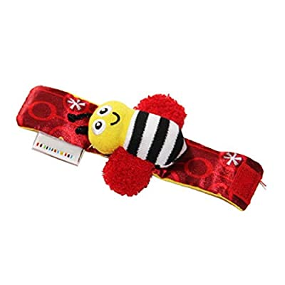 Cute Animal Soft Baby Socks Toys Wrist Rattles and Foot Finders for Fun Bees and Lady bugs: Clothing