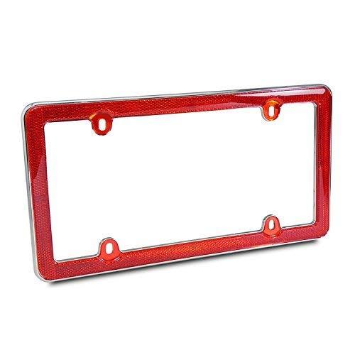 (Red Reflector Chrome Plastic License Plate Frame)