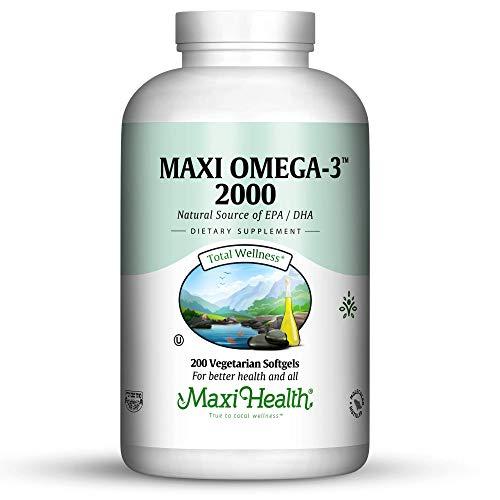 Maxi Health Omega-3 Fatty Acids2000mg - Fish Oil - Higher Potency - 200 Gels Capsules - Kosher