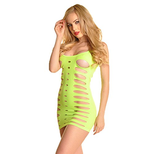 [Angelina Seamless Neon Lime Mini Dress #70490] (Neon Party Dresses)