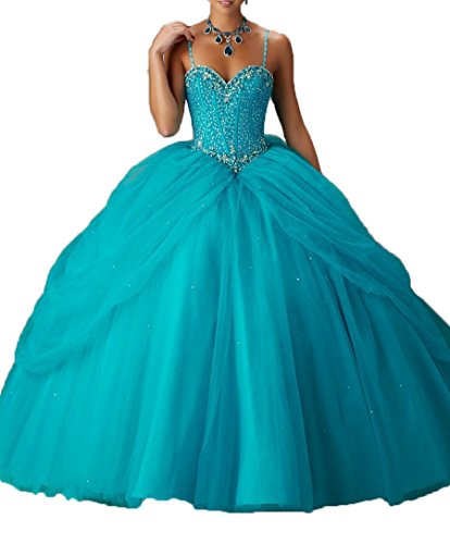 08ae34cd4388b DKBridal Women s Sexy Spaghetti Straps Quinceanera Dress Crystal Beaded  Ball Gown Skyblue