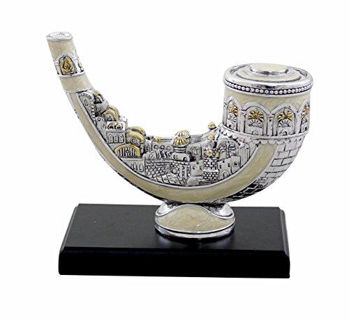 Silver Polyresin Shofar Miniature with Jerusalem and White Enamel Finish