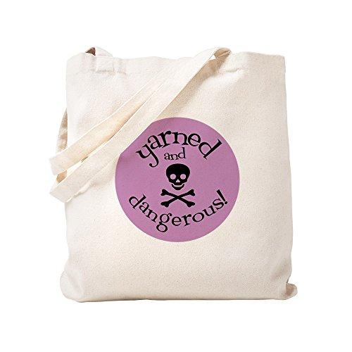 CafePress Knit Sassy - Yarned & Dangerous! Natural Canvas Tote Bag, Cloth Shopping Bag