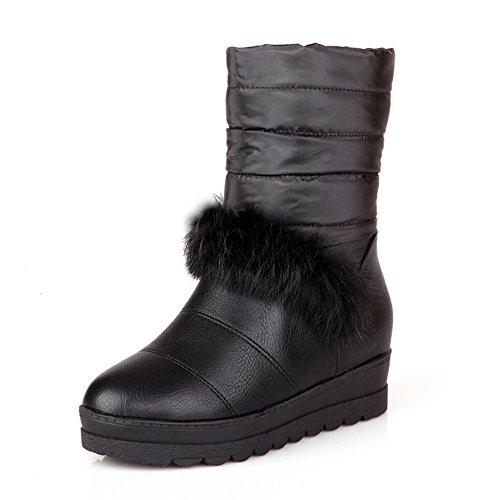 AdeeSu Womens Fur Ornament Heighten Inside Platform Imitated Leather Boots Black qAo88Wn0zn