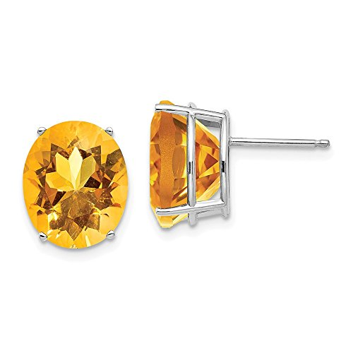 14k White Gold 12x10mm Oval Yellow Citrine Post Stud Earrings Fine Jewelry Gifts For Women For Her