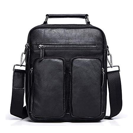PENGYUE Handbag Mens Shoulder Bags Leather Briefcases Crossbody Bags Large Capacity Solid Color Multi-Pocket Waterproof Wear Resistant Casual Fashion Messenger Business Bag Work Travel