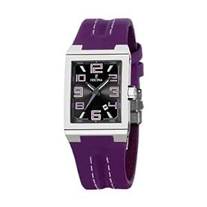 Festina F16187/E - Reloj analógico de cuarzo para mujer con correa de piel, color morado