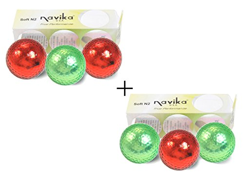 CHRISTMAS RED AND GREEN METALLIC GOLF BALLS (sleeve of 3) - 2 PACK COMBO