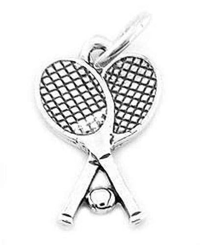 - Sterling Silver Double Tennis Racquets with Ball Charm/Pendant Jewelry Making Supply Pendant Bracelet DIY Crafting by Wholesale Charms