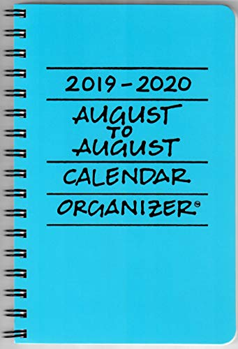 2019-2020 August to August Calendar Organizer- Pacific (Blue)