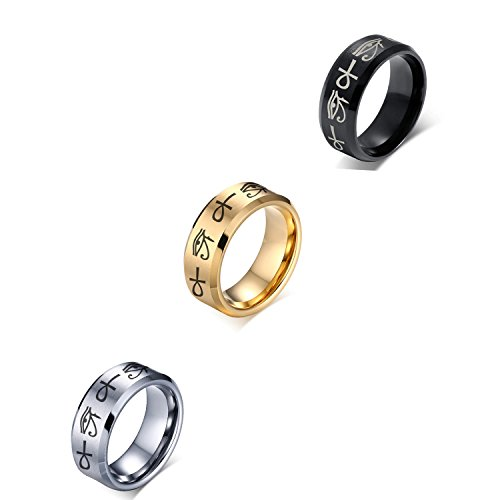 (VNOX 8MM 3 Color/Set Stainless Steel Egypt Eye of Horus Ankh Cross Engagement Wedding Ring,Size 10)
