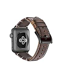 Apple Watch Band,Premium Genuine Leather iWatch Strap Replacement With Secure Metal Clasp Buckle (42MM, Black Clasp)