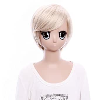 SureWells Lacefront Wig Starry Sky Short Light Golden Cool Girl Cosplay Wigs Costume Wigs