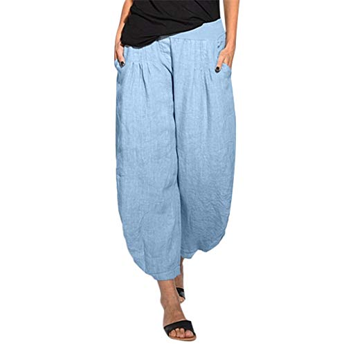 (Armfre Bottom Womens Casual Wide Leg Baggy Pants Cotton Linen Elastic Waist Capri Culottes Trousers Plus Size Palazzo Pant with Pockets)