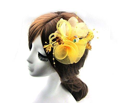 Fen Fun Net Chiffon Crystal beads Fascinator Headwear Flower Corsage Hair Clip Pin Brooch For Women Wedding Party (Gold)