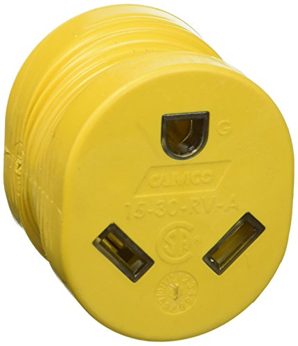 Camco Heavy Duty RV Auto PowerGrip Adapter- Contoured Shape For Easy Grip and Removal (15M, 30 Amp, 125 V, 1875 W)(55223)