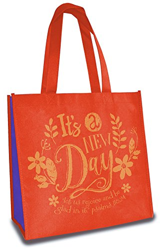 It's A New Day Rejoice Be Glad 12 x 12 Inch Reusable Eco-Friendly Tote Bag Pack of 6 by Divinity Boutique